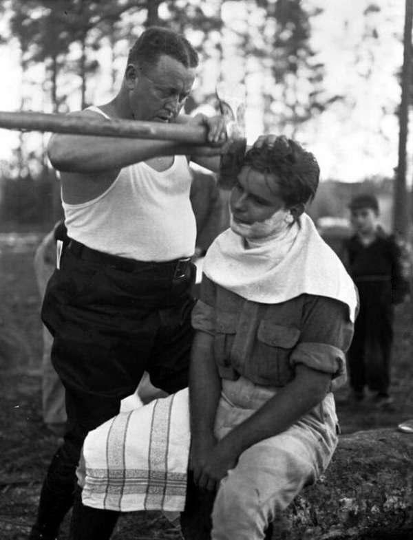 1940年代真男人的修容方式。