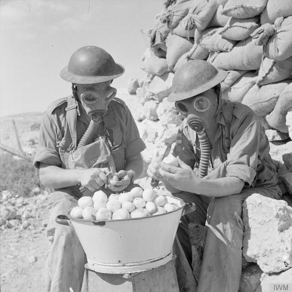1941年,两名士兵穿戴防毒面具剥洋葱,以免流泪。
