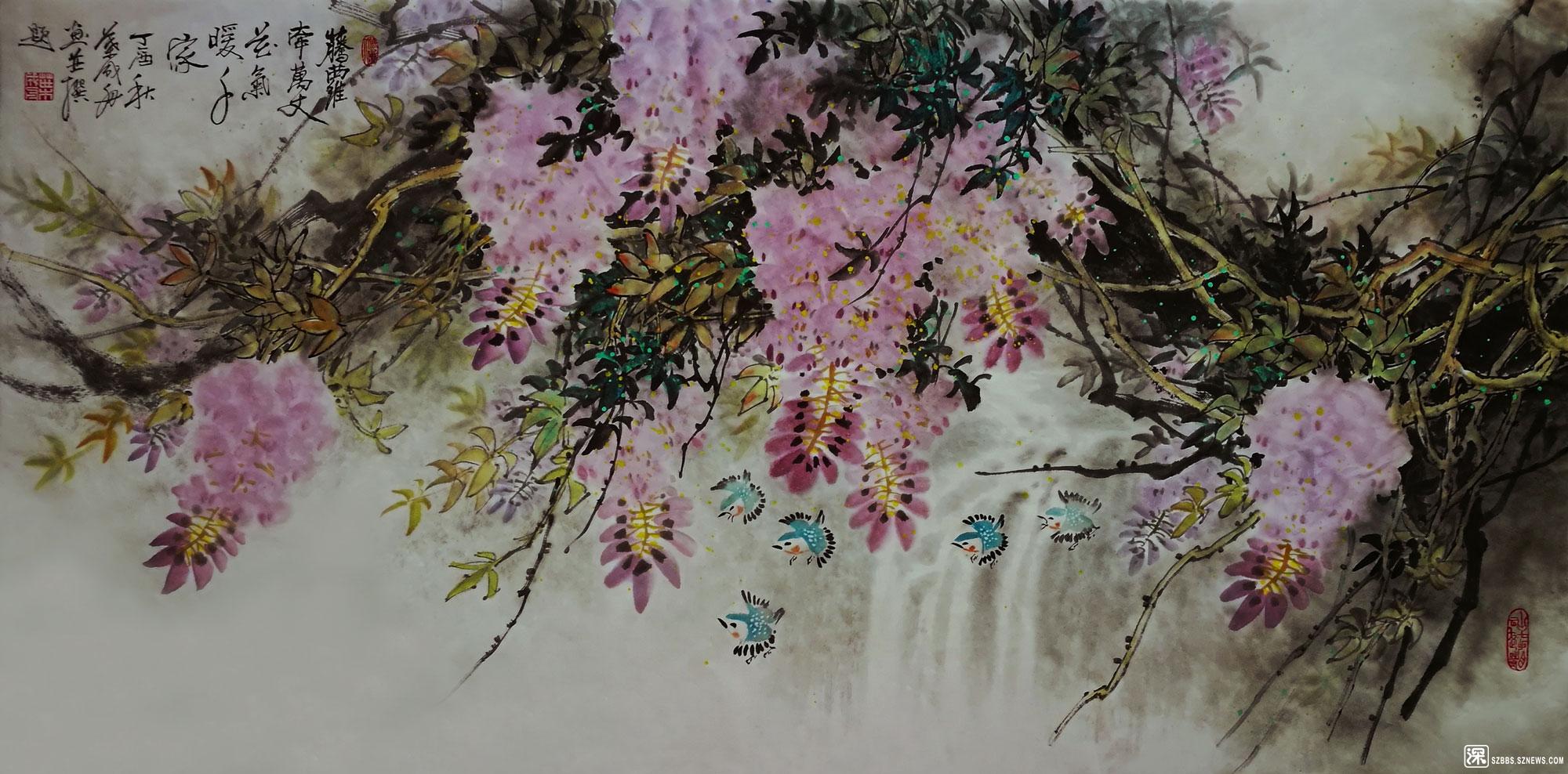 叶崇谋老师的国画作品——藤萝牵万丈-花气暖千家